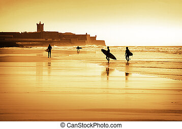 Surfers silhouettes - Silhouette of surfers walking in the...