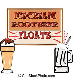 rootbeer floats and ice cream - background in retro style...