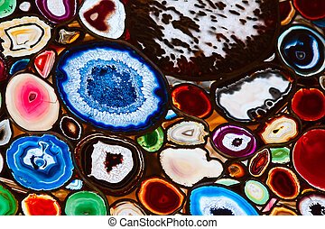 agate stone - Translucent mosaic made from slices of agate...