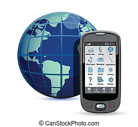 international calls - Mobile phone with globe on a white...