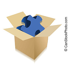 Cardboard box with puzzle on a white background