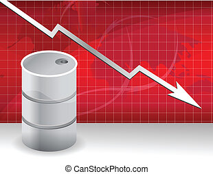 oil prices falling down concept illustration