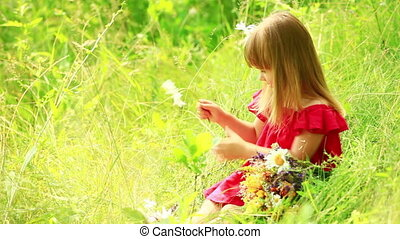 Girl gathering a bouquet of wildflo