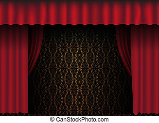 Red Curtain - Red Theatre Curtain - Vintage Wallpaper in...
