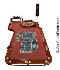 Roulette table isolated on white background