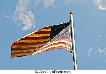 norteamericano, bandera, trece, estrellas