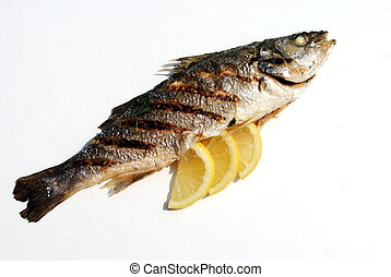 grill cooked fish with lemon slices on white background
