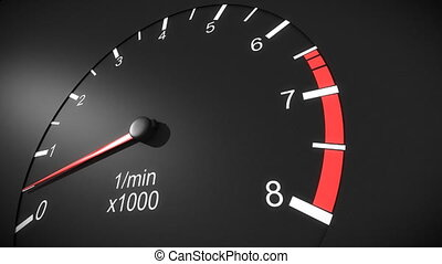 Car tachometer HD - Car tachometer and moving pointer on it...