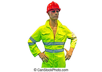 mannequin clothing yellow for road safety