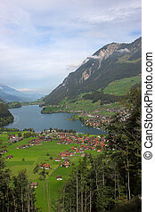 Fine valley - A valley in Switzerland, lake and settlement