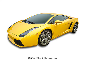 Yellow sportscar - Sportscar inyellow, isolated with...