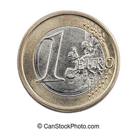One Euro coin with clipping path
