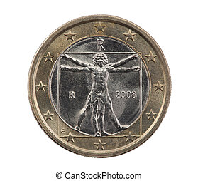 Italian one Euro with clipping path