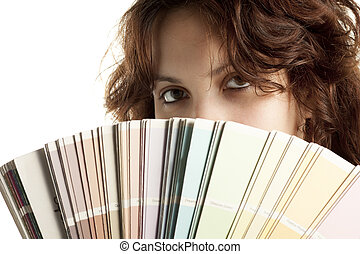 Woman with Color Swatch - Woman Close Up with Color Swatch