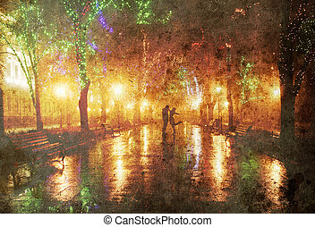 Couple walking at alley in night lights. Photo in old image...
