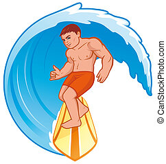 Surfer - Isolated illustration Surfer on wave