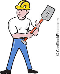 construction worker with shovel spade - illustration of a...
