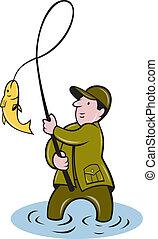 fisherman fly fishing reeling fish - illustration of a...