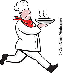 chef cook running serving hot soup bowl - illustration of a...