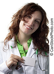 Woman Doctor with Business Card