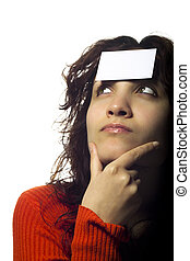 Woman with Ticket on Her Forehead