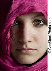 mulher, roxo, véu, Retrato