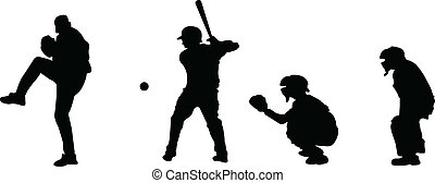 Baseball silhouettes - A collection of a pitcher, hitter,...