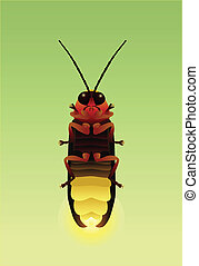Firefly - A detailed illustration of a firefly with its...