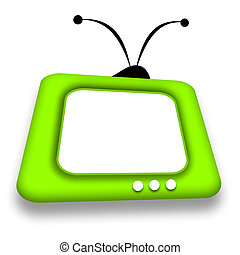 TV - Green comic retro TV with blank white screen