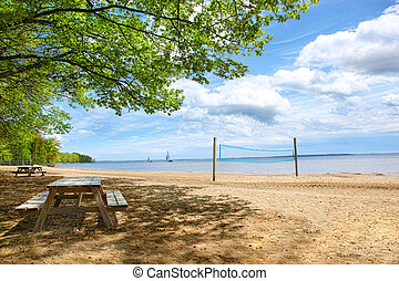 Picnic tables at the beach