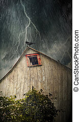 Spooky old barn with crows on a stormy night - Spooky old...