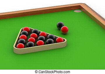 Snooker ball table - Digital illustration of Snooker ball...