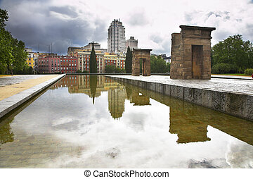 The ancient Egyptian temple Debod established at top of a...