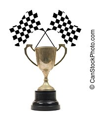 Checkered Flags - Checkered flags and a trophy isolated...