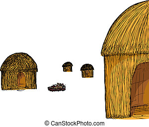 Straw Hut - Illustration of four traditional straw huts and...