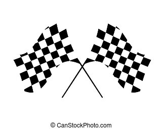Checkered Flags - Checkered flags isolated against a white...