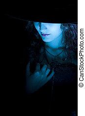 bleu, élégant, sorcière