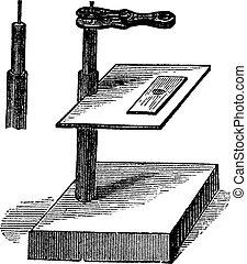 Microscope simple, vintage engraving.