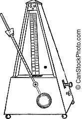 Metronome isolated on white, vintage engraving - Metronome...