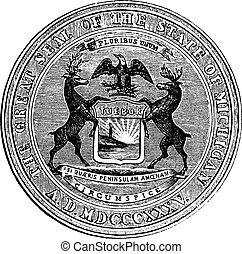 Seal of the state of Michigan, vintage engraving - Seal of...