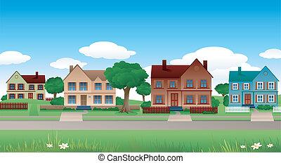 suburban landscape - suburban houses landscape