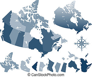 Canada map and provinces - blue vector geopolitic Canada map...