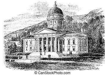 The State Capitol Building in Montpelier, Vermont, vintage...