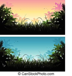 jungle banners background - jungle banners