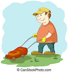 Lawn mower man - lawn mower man work, mows a green grass on...