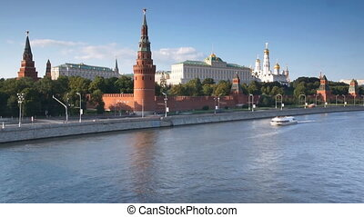 Kremlin Palace and Moskva river traffic, Moscow, Russia