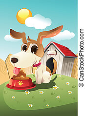 Dog in doghouse - A vector illustration of a dog eating in...