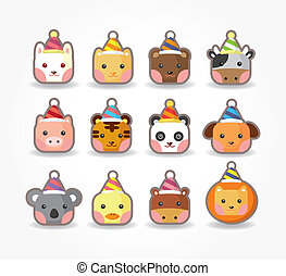 cartoon party animal icon set