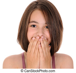 Beautiful girl laughs into her hands. - Laughing girl hiding...