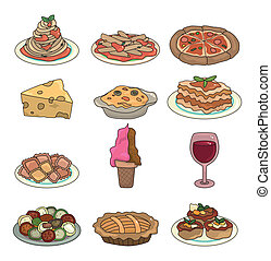 cartoon Italian food icon set